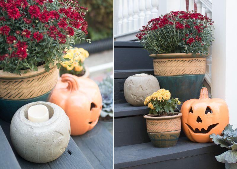 Easy DIY concrete pumpkin for a fun Halloween