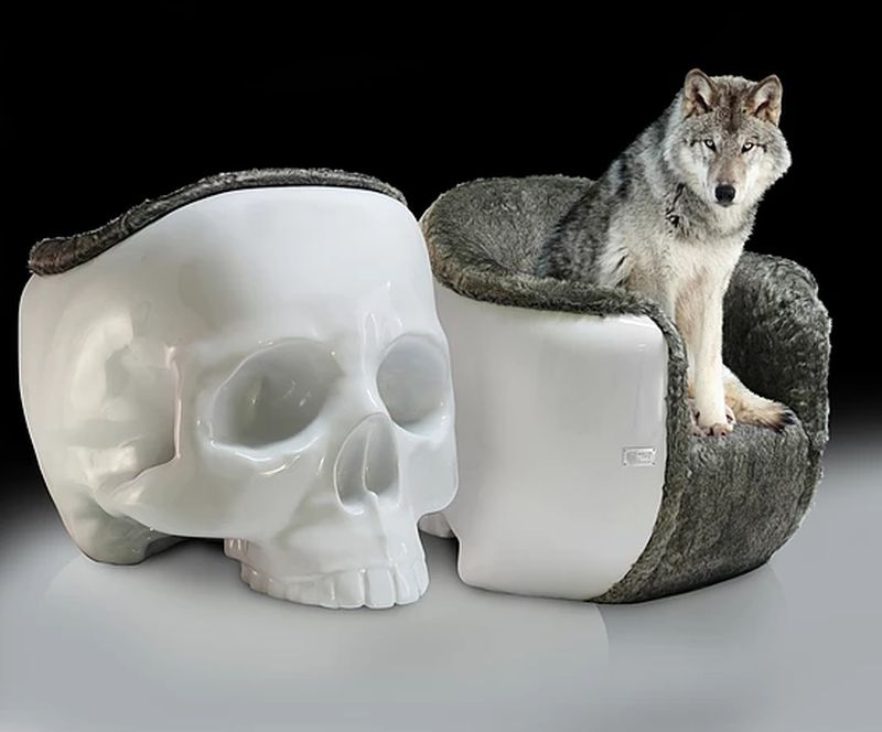 Giant skull armchair by Gregory Besson