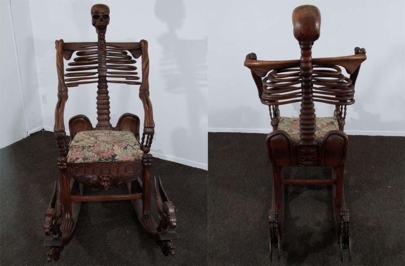 Momento Mori skeleton rocking chair