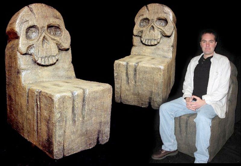 Skull fiberglass chair by Richard Riley