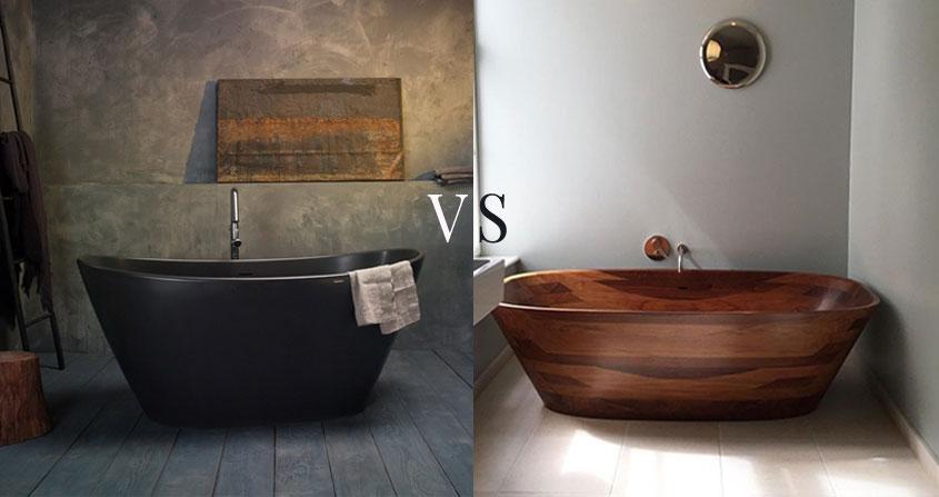 stone bathtub vs wood bathtub -bathtub materials