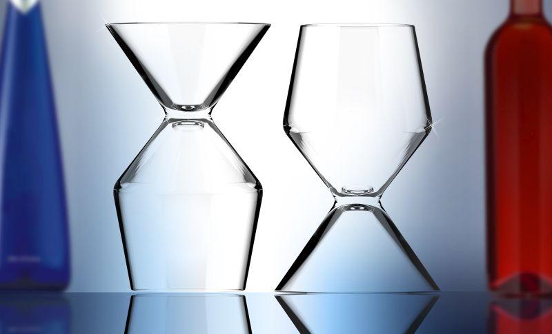 Asobu Vino Tini martini and wine glass