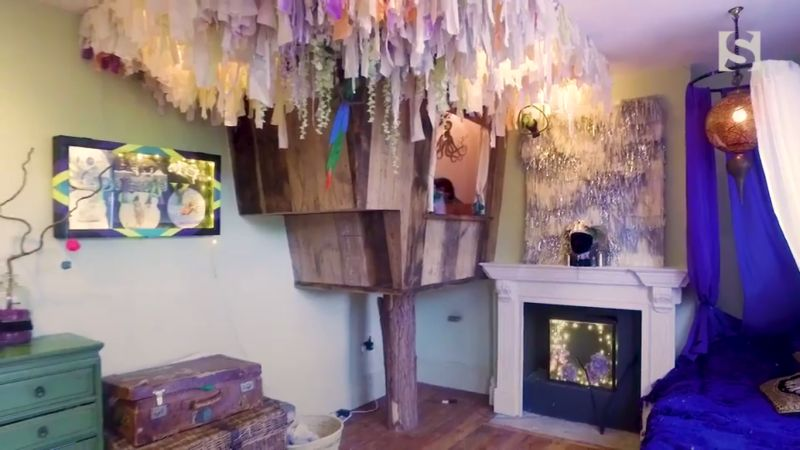 Chris Brandler creates indoor treehouse from reclaimed barn wood