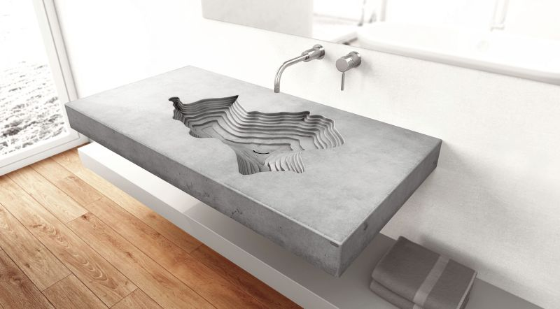 Tomáš Vacekhas' Map concrete washbasin for Gravelli