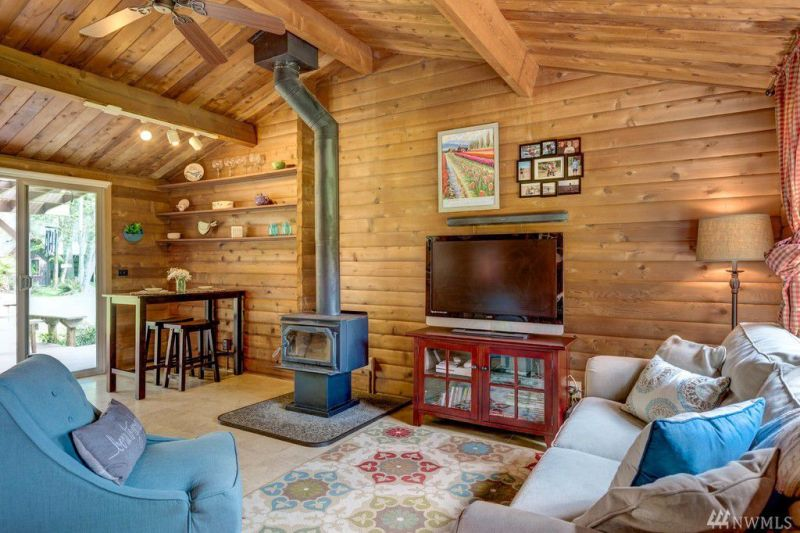 tiny house with wood burning stove