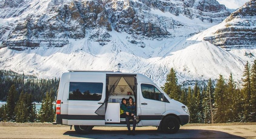Camper Van that Saves Money for the Couple Who Works and Travel in It