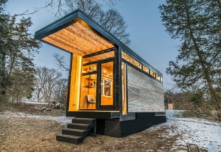 The Cornelia tiny house functions as a writing studio, guest house and library