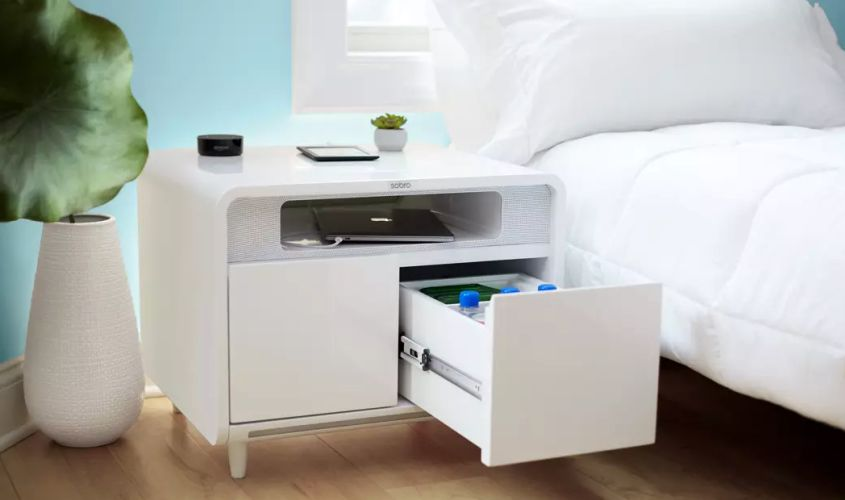 Sobro Smart Side Table Chills Beer, Charges Phone, Plays Music and Lulls You to Sleep