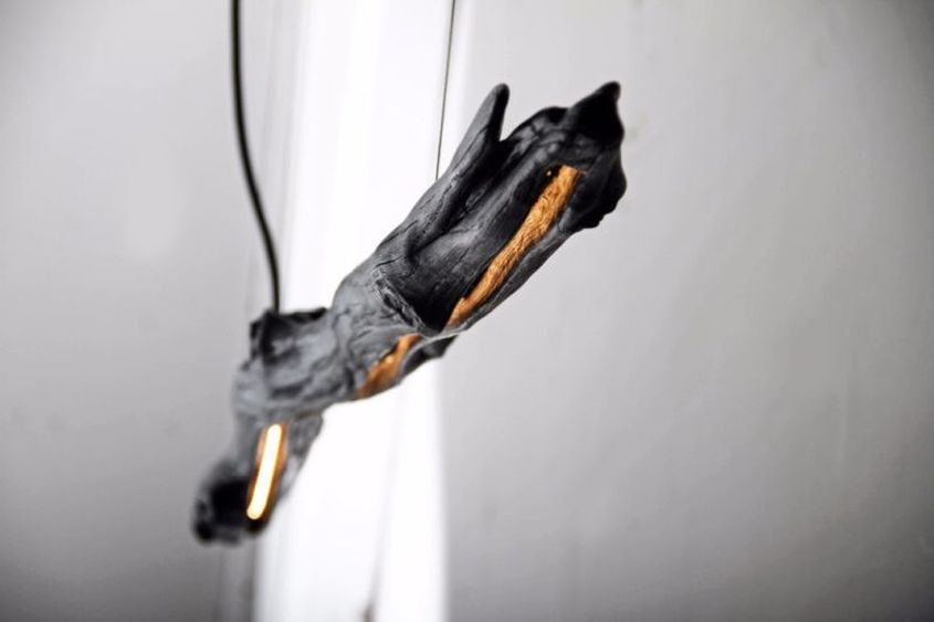 Burnt Tree Branch Pendant Lamp from Wdstck