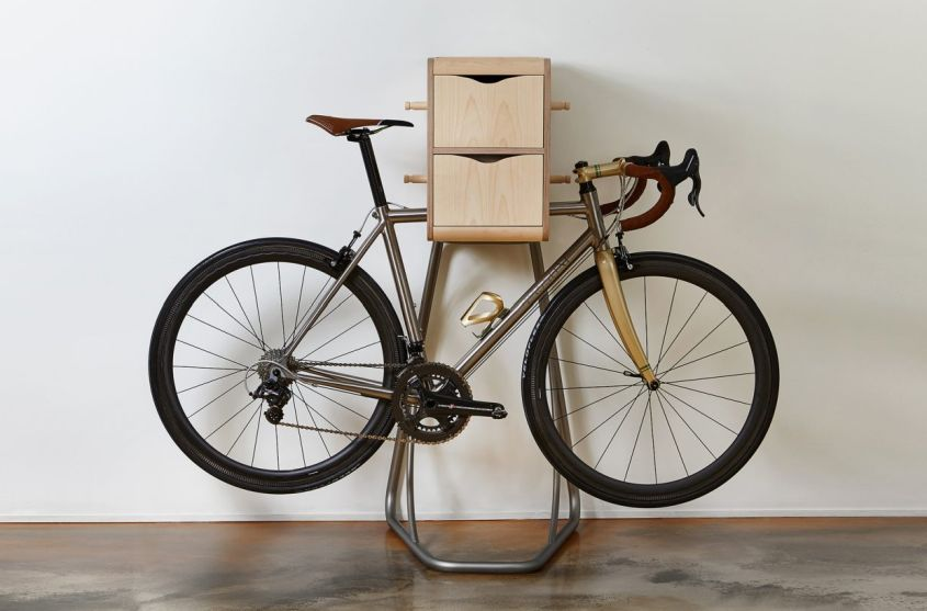 Vadolibero's Origo Freestanding Bike Racks with Space for Cycling Gear
