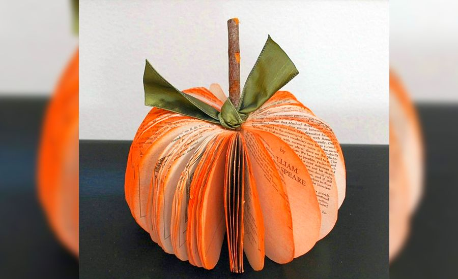Book Page Pumpkin - Halloween decoration ideas