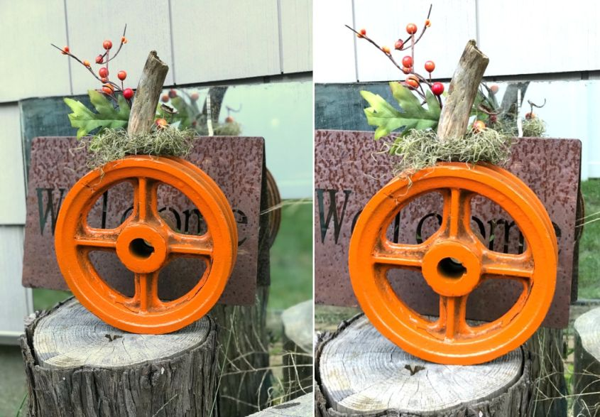 Decorate Your Yard with DIY Metal Wheel Halloween Pumpkin