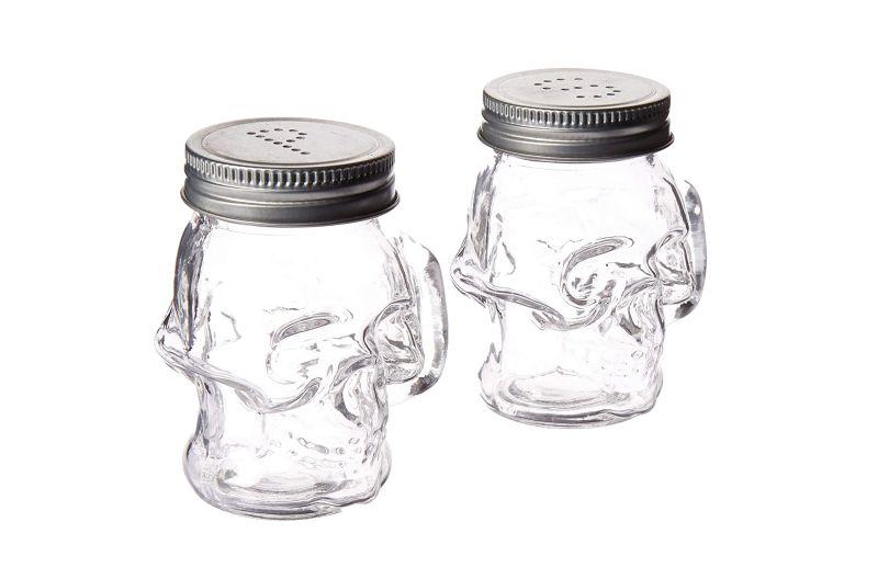 Skull shaped salt and pepper shaker for Halloween