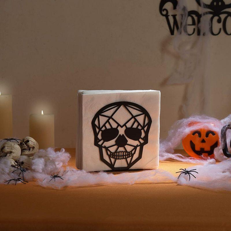 skull napkin holder - Halloween kitchen ideas