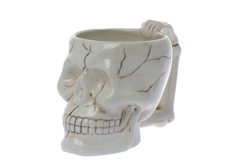 skull shaped coffee mug- Halloween kitchen ideas