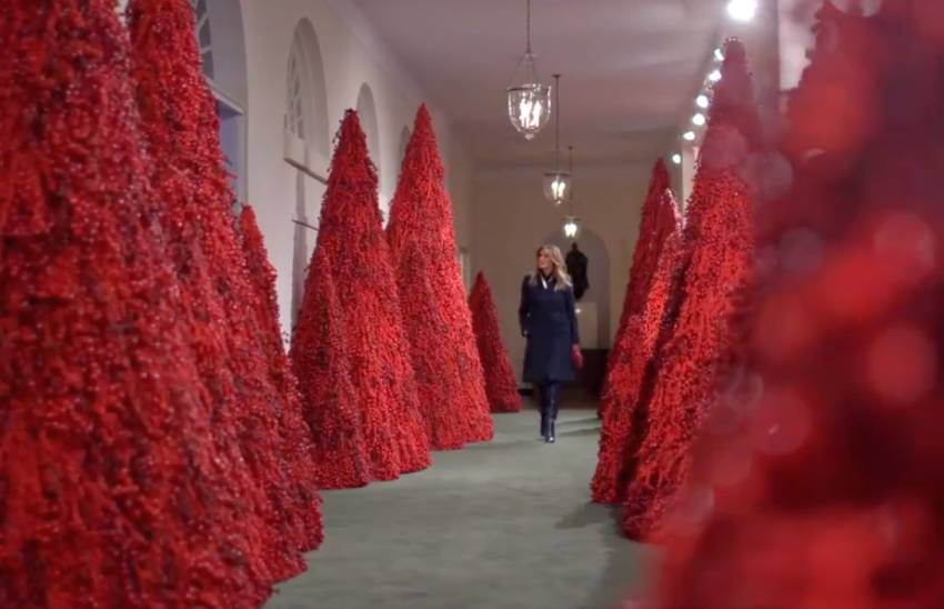 Red Christmas tree Melania Trump in White House