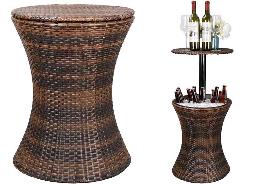 ZENSTYLE-Height-Adjustable-Bar-Table-and-Ice-Bucket-Combo