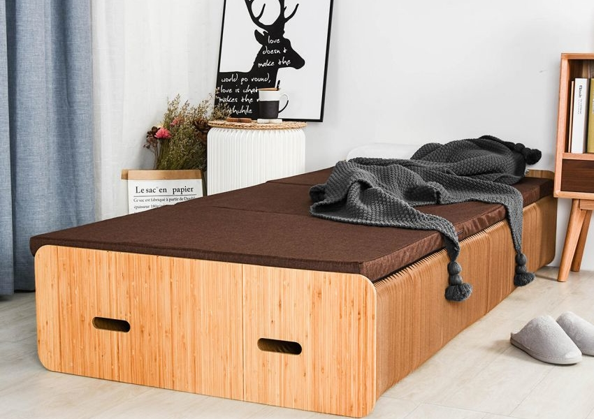 Pro Idee's Cardboard Paper Bed Folds Up into Bench Quickly