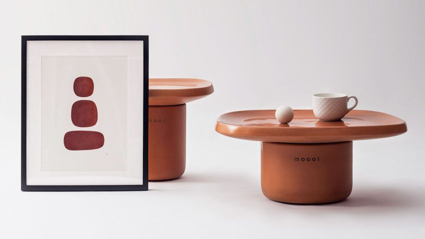 Simone Bonnan Designs Obon Terracotta Tables for Moooi