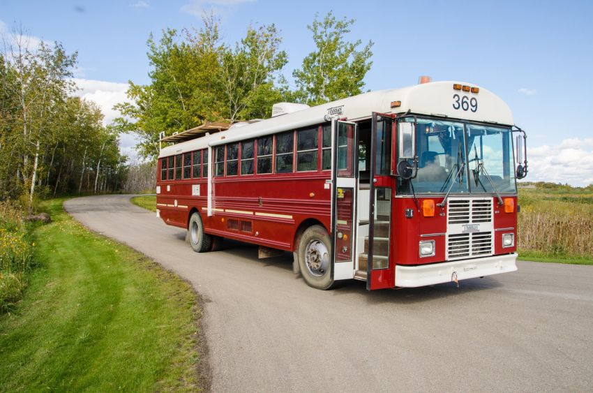 Thomas School Bus Converted into a RV by Paved To Pines