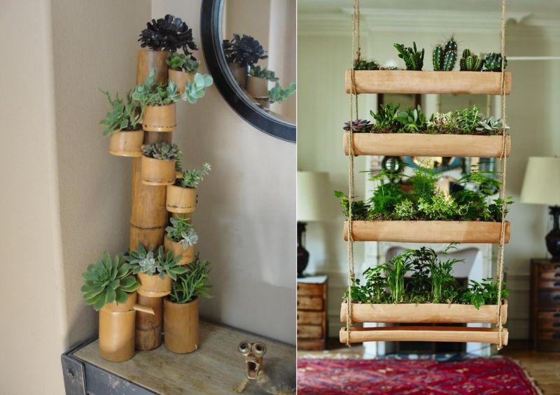 Bamboo vertical planter