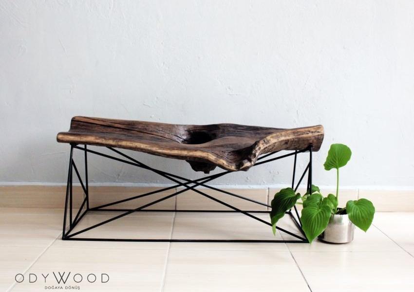 KOVUK Tree Bark Bank & Coffee Table by Odywood