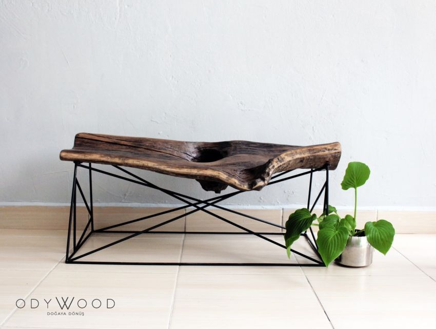 KOVUK Tree Bark Bank & Coffee Table by Odywood