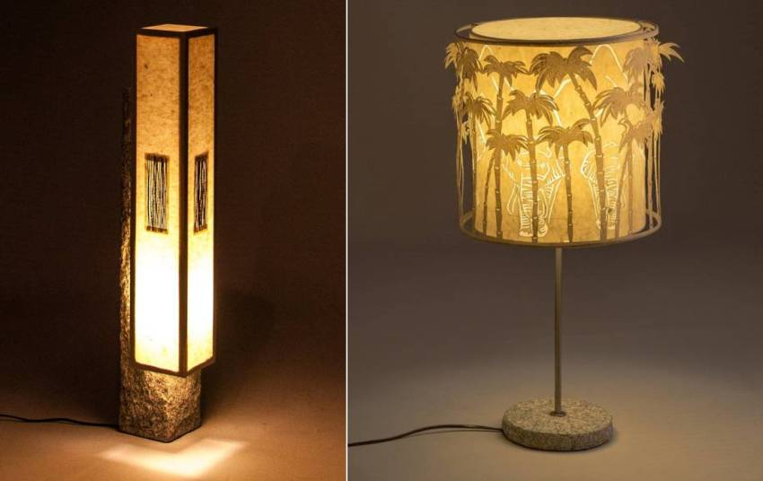 Manhattan Floor Lamp and Elephant Shadow Play Table Lamp by Oorjaa