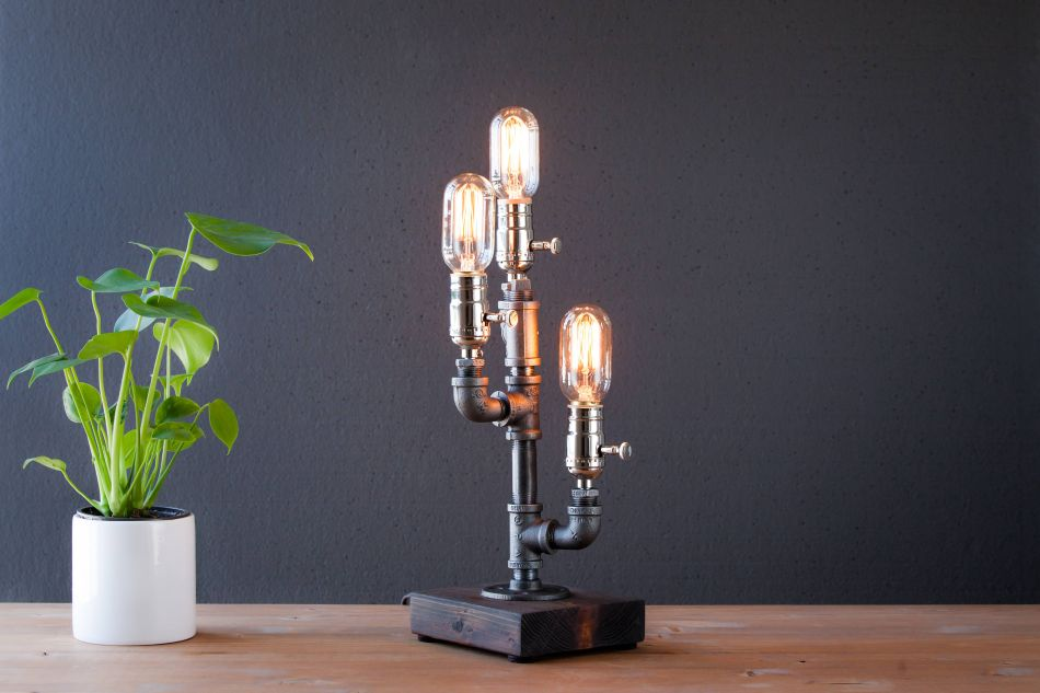 Industrial style, steampunk, Etsy, table lamp,