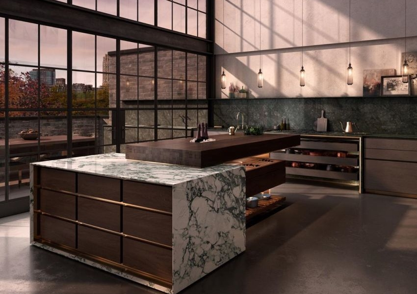 Lanserring's Delancey Kitchen Island Combines Marble and Wood
