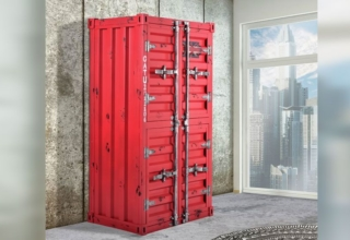 17 Stories Noemi Wine Cabinet Looks Like It is Made from Shipping Container