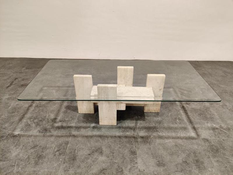 Brutalist coffee table by Willy Ballez