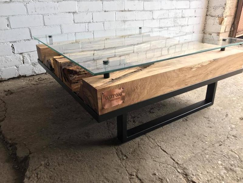 Industrial Wood and Glass Coffee Table etsy