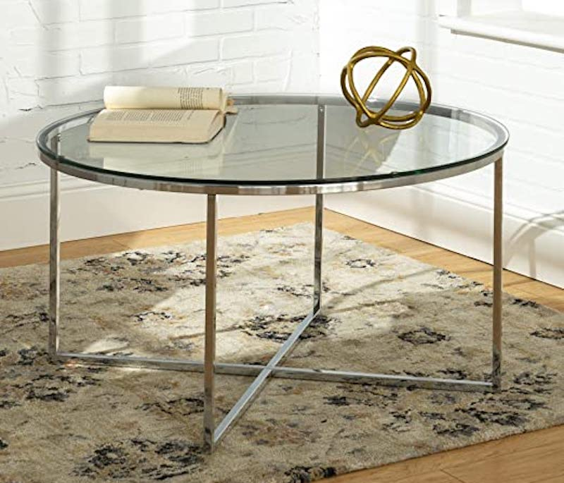 Round Glass Coffee Table by Walker Edison Furniture Company