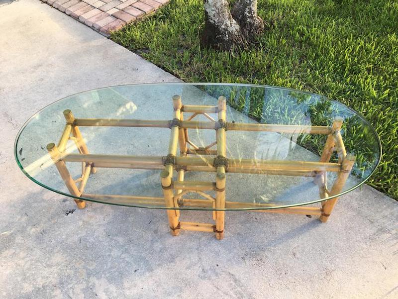 Vintage Mid Century McGuire Style Bamboo Leather Wrap Coffee Table