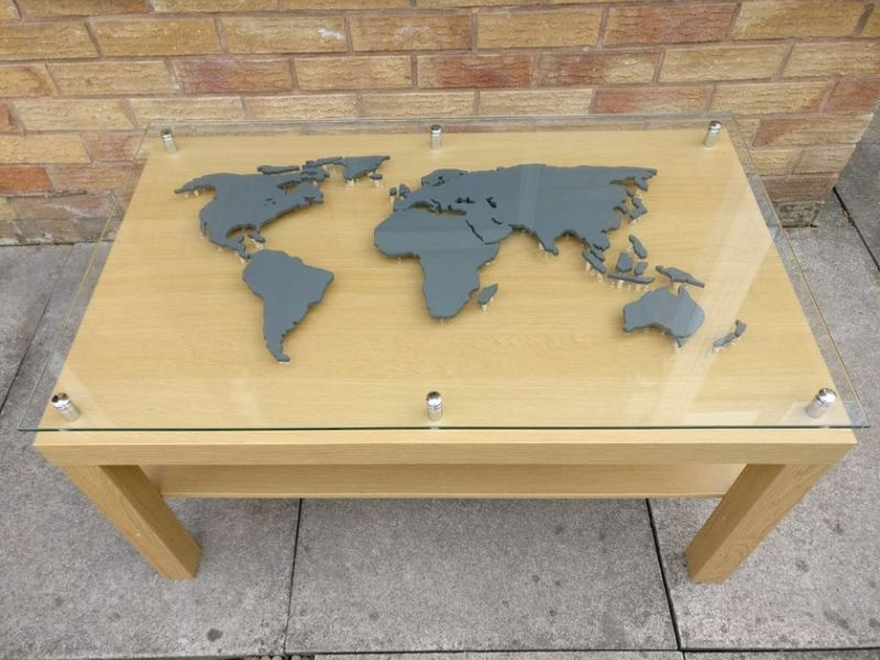 DIY Backlit World Map Coffee Table with Glass-top