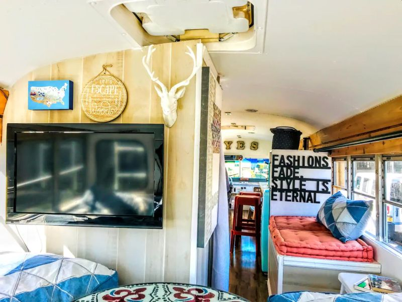 Apt84 is School bus Transformed into Tiny house on Wheels hosts Tours, Events and Weddings