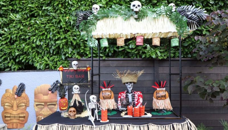 Outdoor skeleton decoration ideas Skeleton Luau in Your Backyard