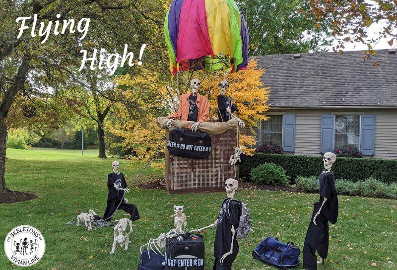 Skeletons Flying High - Outdoor skeleton decoration ideas