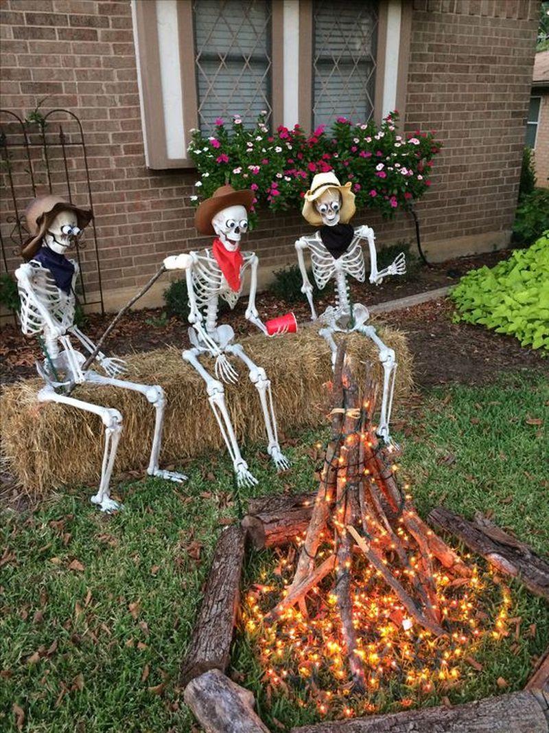 Skeleton Campfire in Yard - Outdoor skeleton decoration ideas