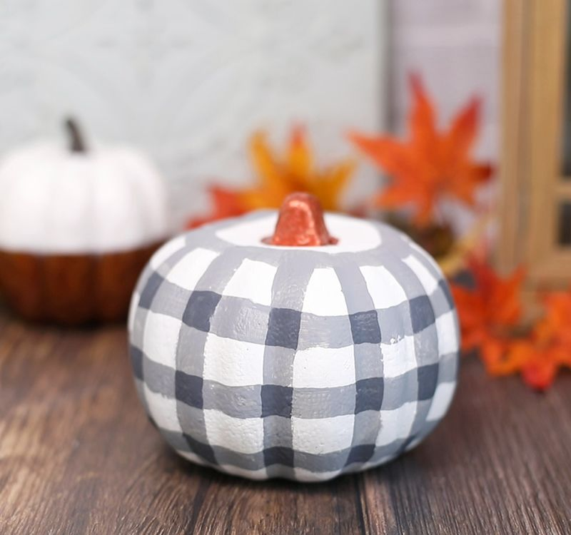 Buffalo check painted pumpkin