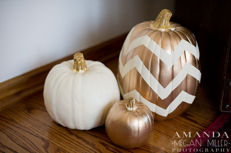Chevron & gold pumpkins