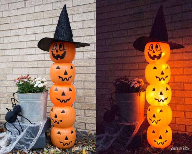 DIY pumpkin bucket jack o' lantern totem