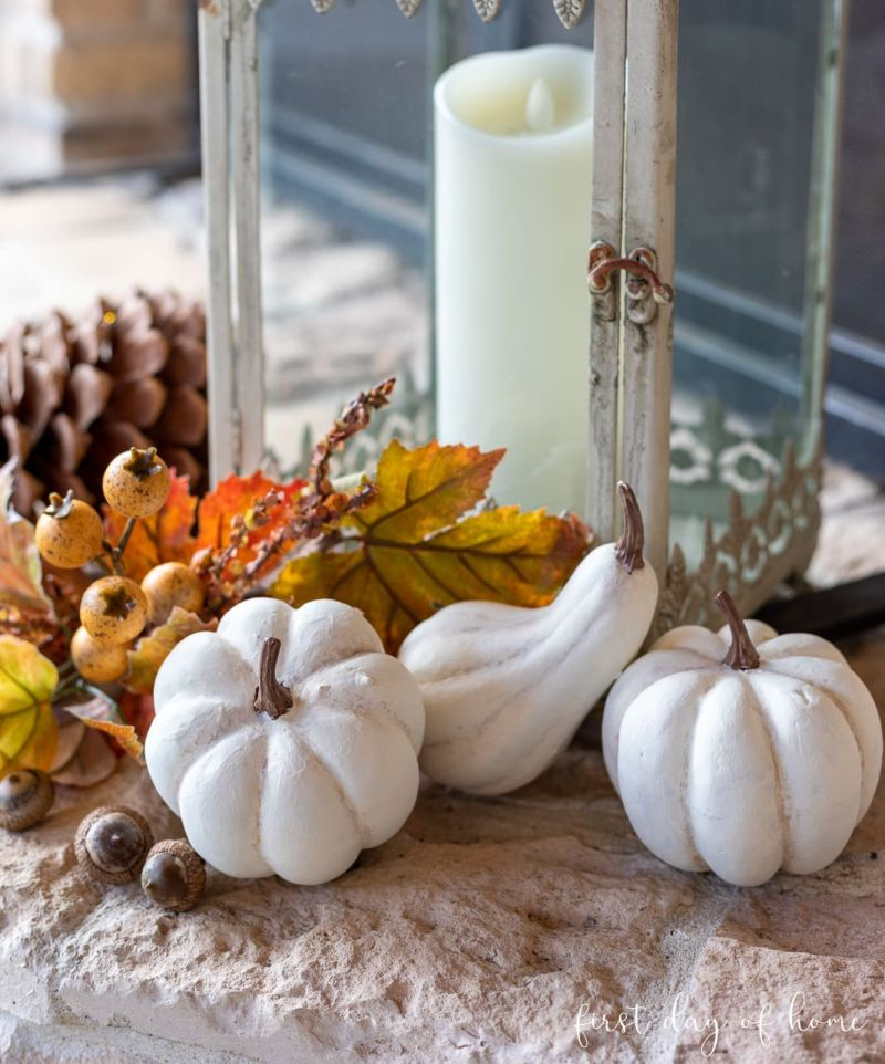 Farmhouse style white painted pumpkins