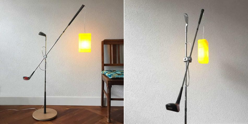 Gilbert de Rooij Upcycles Old Golf Clubs into Floor Lamp