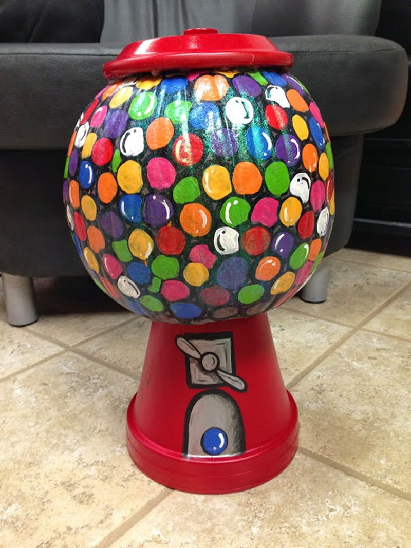 Bubble gum machine painted pumpkin