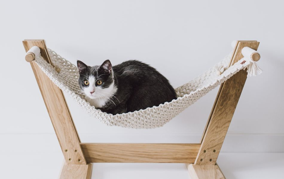 Handmade Eco-Friendly Macramé Cat Hammock Suitable for All Small Pets