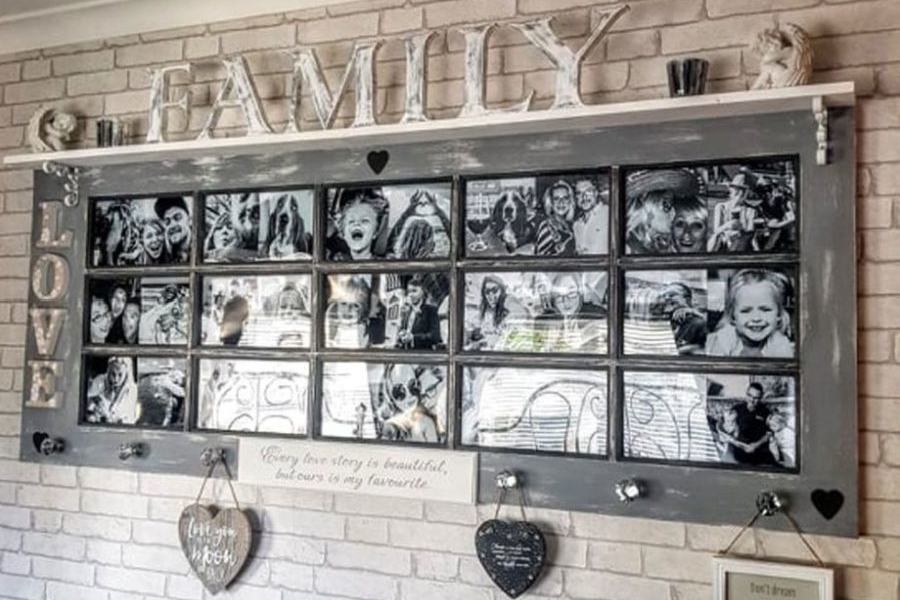 Mom Transforms Old Door into Photo Frame for Her Daughter's Room