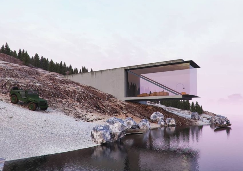 Reza Mohtashami Visualizes Sea-Facing Home with Cantilevered Living Room