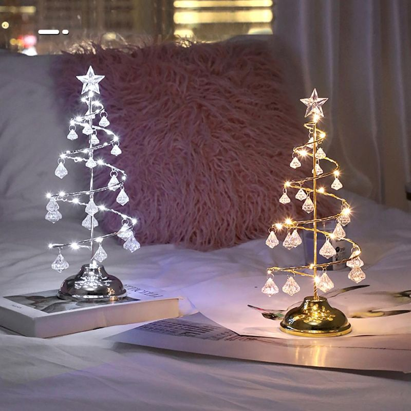 tabletop Christmas tree with metallic accents
